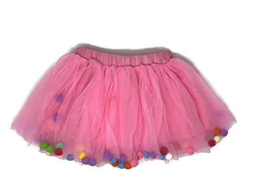 Rush Dance Ballerina Girls Dress-up Pom Pom Puff Balls Costume Recital Tutu (M (2-5 Years Old), -