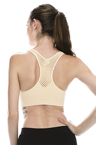 Kurve Padded Mesh Back Sports BraMade in USA (One Size (Xs-M), - Made Bra In Sports Usa
