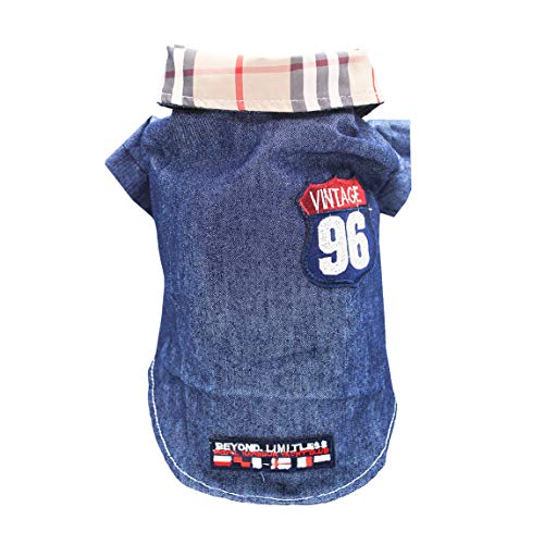 HOLADON Dog Jeans Jacket Retro Plaid Lapel Collar Vests Coat Pet Clothes with Vintage Armband on Back Classic Denim Jacket Custumes for Small and Medium Size Dog -