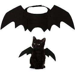 Zehui Accesorios de decoración para Mascotas de la Fiesta Halloween, Pet Bat Black Wings, Disfraz de Perro Gato, ala de Gato