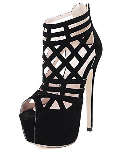 Chfso Femmes Cool Discothèque Évider Peep Toe Plate-forme Glissière Au Dos Gladiateur Sandales Talons Aiguilles Chaussures Noires