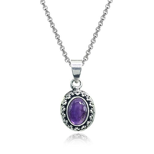 lated Cabochon Amethyst Oval Thick Oxidized Bali Dainty Pendant Necklace (Oval Amethyst Bezel Pendant)