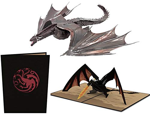 (ReBL LLC Game of Thrones Gift Bundle - Lovepop 3D Pop Up Card with Metal Earth ICONX 3D Steel Model Kit (Drogon & Daenerys))