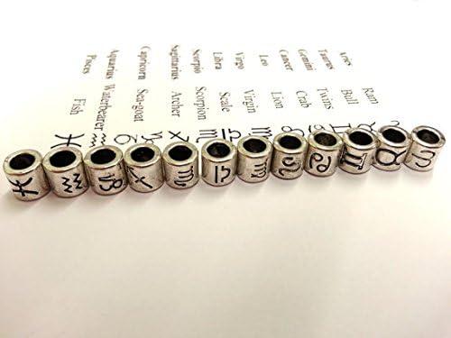 Linsoir Beads Antique Silver Tone Zodiac Beads Charm 4mm Hole Horoscope Beads Fit European Bracelet Pack of 60 Pcs