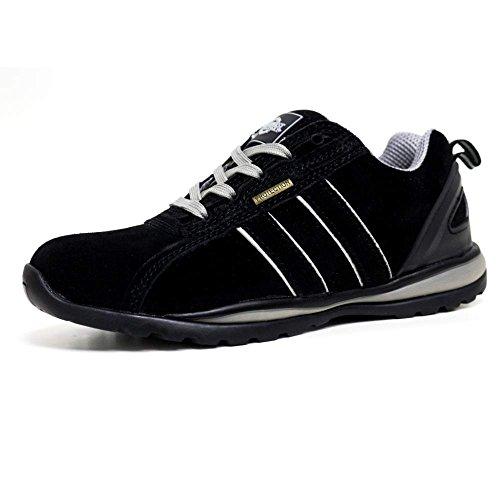 Northwest Territory Hombre Zapatos de Puntera de Seguridad de Cuero negro / gris