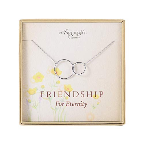AnotherKiss Friendship Necklace - Sterling Silver Interlocking 2 Circle Infinity Necklace Jewelry Gift for Best (Best Infinity Friends Circle Necklaces)