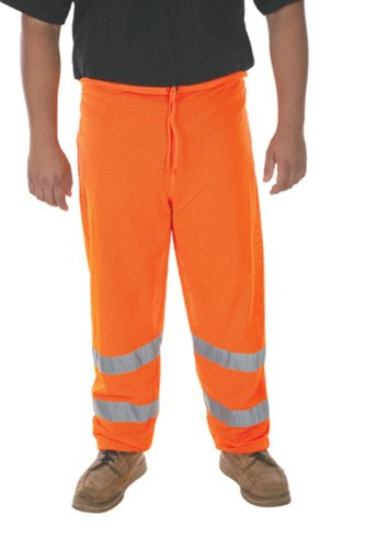 Liberty Glove & Safety HiVizGard Polyester Class E Mesh Pant with 2-Inch Wide Silver Reflective Stripes, X-Large/2X-Large, Fluorescent Orange C16925F/XL2X