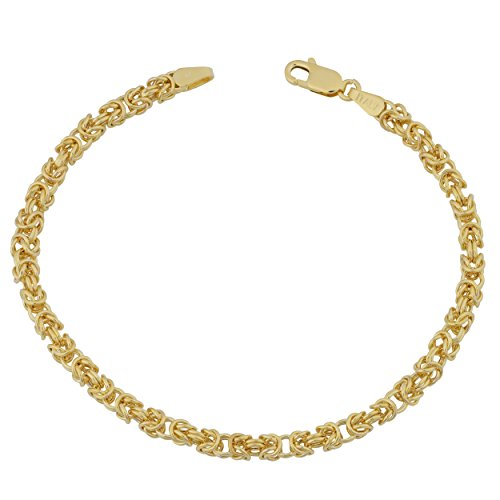 Kooljewelry 10k Yellow Gold Byzantine Link Bracelet (3.5mm, 7.5 inch)