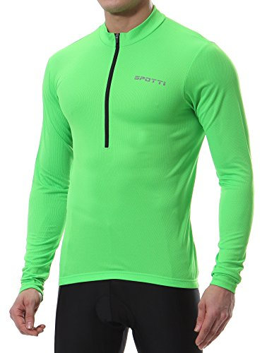 - Spotti Men's Long Sleeve Cycling Jersey, Bike Biking Shirt- Breathable and Quick Dry (Chest 42-44 - XL, Green)