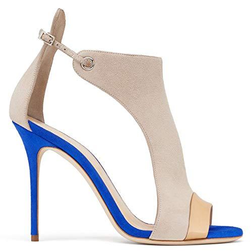 (Women's Stilettos Pumps, Dress Sandals Fashion High Heel Fish Sandals,Buckle Slingback Shoes Blue)