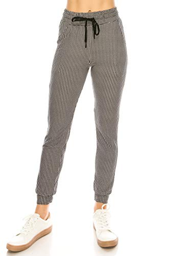 ALWAYS Women Drawstrings Jogger Sweatpants - Super Light Skinny Fit Premium Soft Stretch Plaid Checkered Pockets Track Pants Black White L/XL