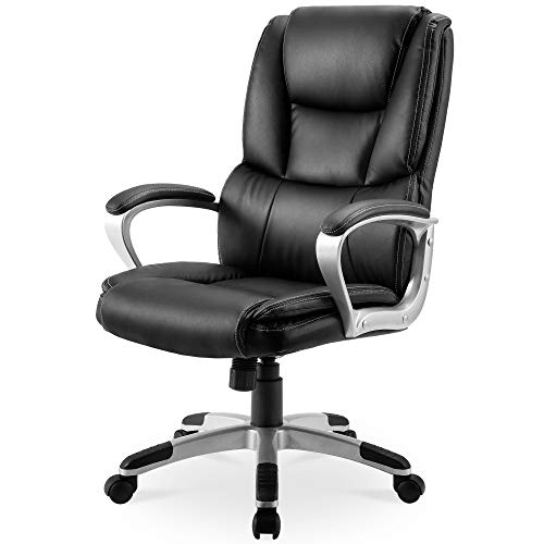 Executive Office Chair 300 LB Heavy Duty,JULYFOX PU Leather Gaming Chair High Back Ergonomic Lumbar Support Padded Seat Head Pillow Armrest Tilt Control Bonded Swivel Desk Chair-Black