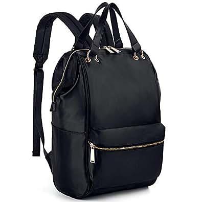 UTO Fashion Backpack Waterproof Lightweight Nylon Rucksack Removable Handles School College Bookbag Shoulder Purse Black