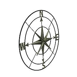 "Deco 79 32"" Coastal Round Iron Compass Wall D"
