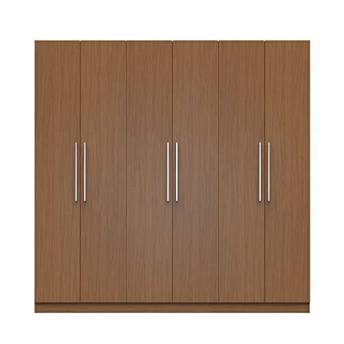 Manhattan Comfort Eldridge 2.0 3 Sectional Armoire Wardrobe Closet with 6 Doors, 4 Drawers, 9 Shelves and 3 Hanging Rods, 91'' L x 21'' D x 90'' H, Maple Cream by Manhattan Comfort
