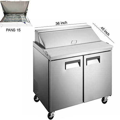 - 36 inch Two Door Mega Refrigerated Sandwich/Salad Preparation Table, 15 pans, ETL certified