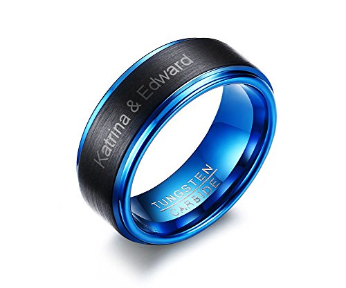 Personalized Custom Men's Two-tone Tungsten Carbide Blue Inside Wedding Engagement Band Promise Ring,size 10 by PJ Jewelry
