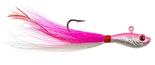 Hurricane 3D Eye Bucktail Jig, Pink/White, 1 1/2-Ounce