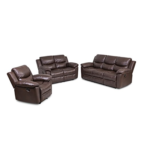 (JUNTOSO 3 Pieces Recliner Sofa Sets Bonded Leather Lounge Chair Loveseat Reclining Couch for Living Room - Chocolate)