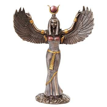 Home Décor Statues Isis Egyptian Goddess Winged Extended Colored Bronze Resin 11 7/8