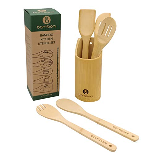 6 Piece Set | Bamboo Cooking Utensils with Holder | Spoon and Spatula Mix | Wooden Kitchen Tools | Perfect for Nonstick Cookware by Bamboni