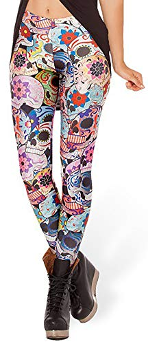 Sister Amy Women's High Waist Colorful Skull Printted Ankle Elastic Tights Legging