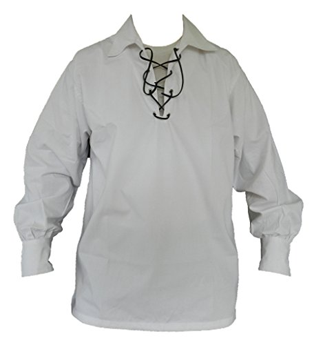 UTKilts Jacobite Ghillie Shirt White Large (Large, (Traditional Men Shirt)
