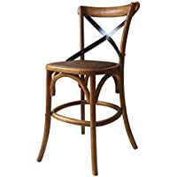 DecentHome Wood Antique Vintage French Bistro Counter Barstool Dining Chair