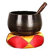 Tibet Copper Art Singing Bowl Buddha Sound Bowl Decoration Yoga Meditation Bowl Manual Fanyin Bowl (Color : Coppery, Size : 18.5cm)