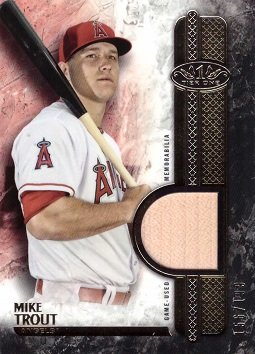 2016 Topps Tier One Relics #T1R-MTR Mike Trout Game Used Bat Baseball Card – Only 199 made!