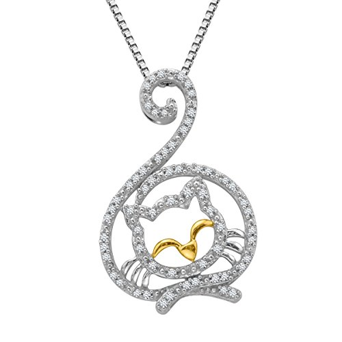 1/5 ct Diamond Cat Pendant Necklace in 14K Gold and Sterling Silver
