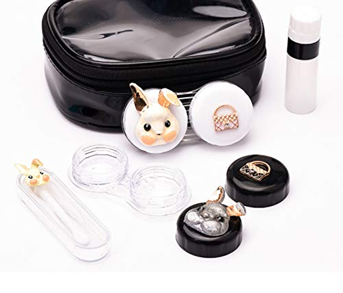 Cute Contact Lens Cases Rabbit Portable Travel Kit with Tweezers Container Holder Mirror Box-Funny Designs-Easy Carry (Rabbit)