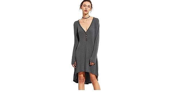 SheIn - Vestido - Casual - Manga Larga - para mujer gris XL : Amazon.es: Ropa y accesorios