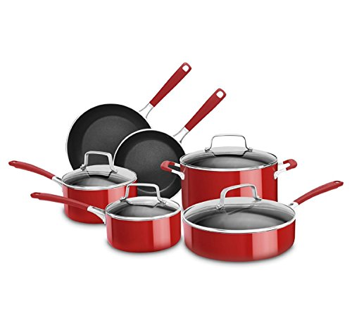 KitchenAid KCAS10ER Aluminum Nonstick 10-Piece Set Cookware - Empire Red