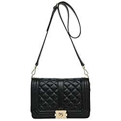 ANA LUBLIN Women Crossbody Bag Real Leather Lambskin Quilting Shoulder Small Handbag with Strap Black