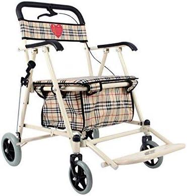 XCY Caminar ayuda médica Instrumentos de edad avanzada Compras/vehículo recreativo/plegable Walker/Walker Equipo de Rehabilitación/plegable Caminar cuatro ruedas Tamaño Compras Blanca Aumenta