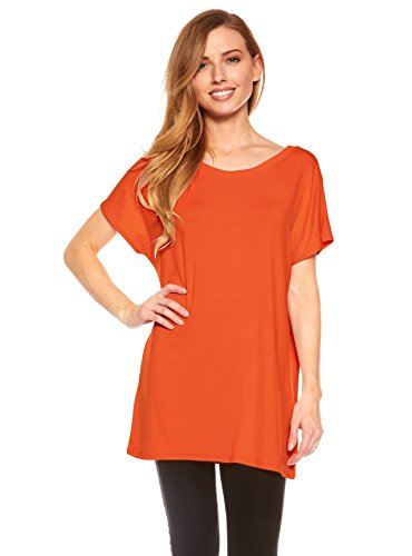(Women's Tunic Top Long Length with Loose Fit, Short Kimono Sleeve,)