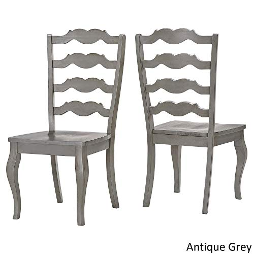 Inspire Q Eleanor French Ladder Back Wood Dining Chair (Set of 2) by Classic Grey Antique, Wood Finish
