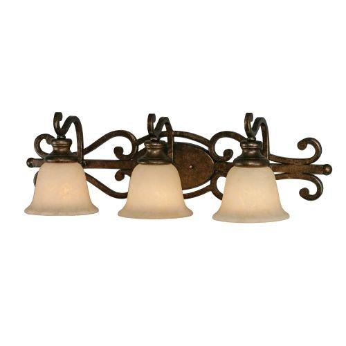 Golden Lighting Heartwood 3 Light Vanity Light - Burnt Sienna Finish