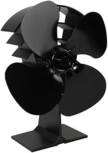 SRMTS Ventilator Ofenventilator für Holz Kamin Hitze Powered Ofen Fan mit 4 Rotorblätter und Kein Lärm Umweltfreundlich (Schwarz)