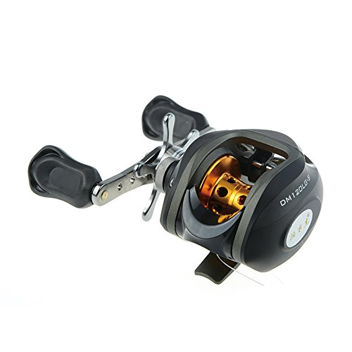 Docooler® 10BB 6.3:1 Left/Right Hand Bait Casting Fishing Reel 9Ball Bearings + One-way Clutch High Speed (Black-Left)