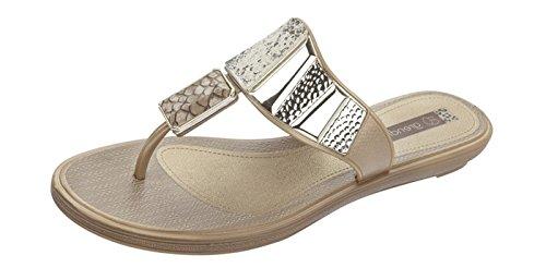 Grendha Allure Thong Womens Flip Flops / Sandals - Beige Snake - SIZE US 8