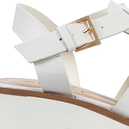 Sandalo Chunky Scarpe Gladiator Tagliato Caviglia Pu Alla Cinturino White Heel Donna Block 58xWx7p