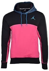 Jordan Men's Nike Jumpman Flight Classic Pullover Hoodie-Black/Pink-XL
