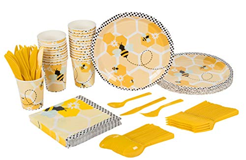 Bee Party Supplies - Serves 24 - Includes