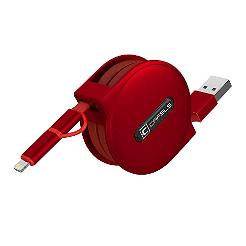 Compatible/Retractable USB Cable,Cafele 2 in 1 Fast Charge Cable,Compatible with 8 Pin/Micro USB for iPhone X 8 7 6s 6 Plus,Samsung S7 S6 Note,Sony,Huawei,Oneplus, LG - (Red) 5ft