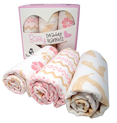 Muslin Swaddle Baby Blankets | 100% Cotton Blanket | Super Soft | Beautiful Gift Box Set | 47 x 47 inches | 3 Pack (Prissy & Pink)