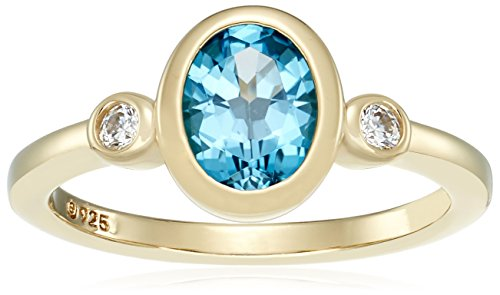 Yellow-Gold-Plated Sterling Silver Oval Blue Topaz and Swarovski Zirconia with Textured Finish Ring, Size 8