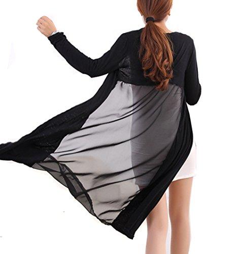 SHALYPOLY ロング カーディガン シフォン 薄手 長袖 無地 日焼け UVカット 冷房対策 ゆったり ビーチコート ラッシュガード 3色