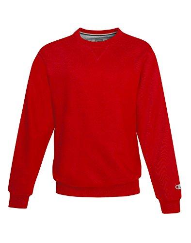 Champion Men's Max Crewneck Full Athletic Fit Sweatshirt, scarlet, Medium